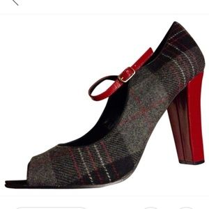 STEVE MADDEN Plaid Peep-Toe with Red Ankle Strap